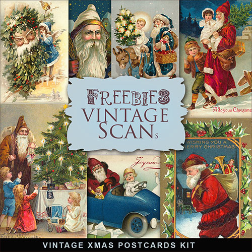 Scrap-kit - Vintage Xmas Post Cards Kit Images