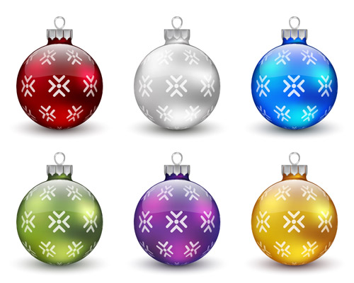 Christmas balls with beautiful patterns - stock vector