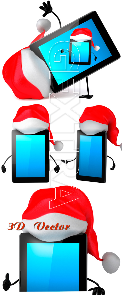 3D tablet in a New Year's cap - Stock photo