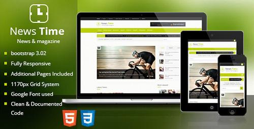 ThemeForest - News Time Magazine / Blog HTML Template - RIP