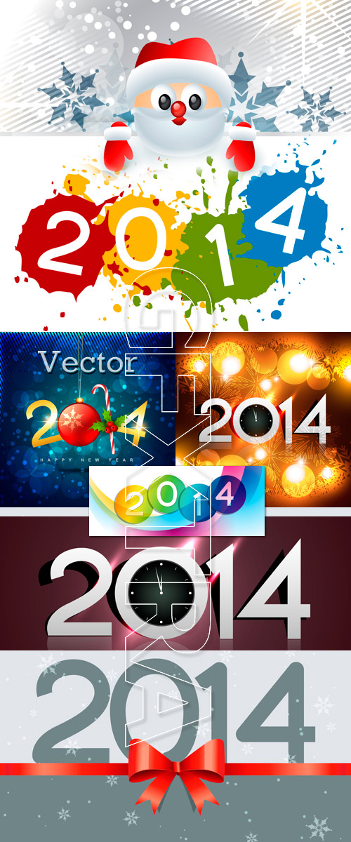 New Year's vector backgrounds 2014