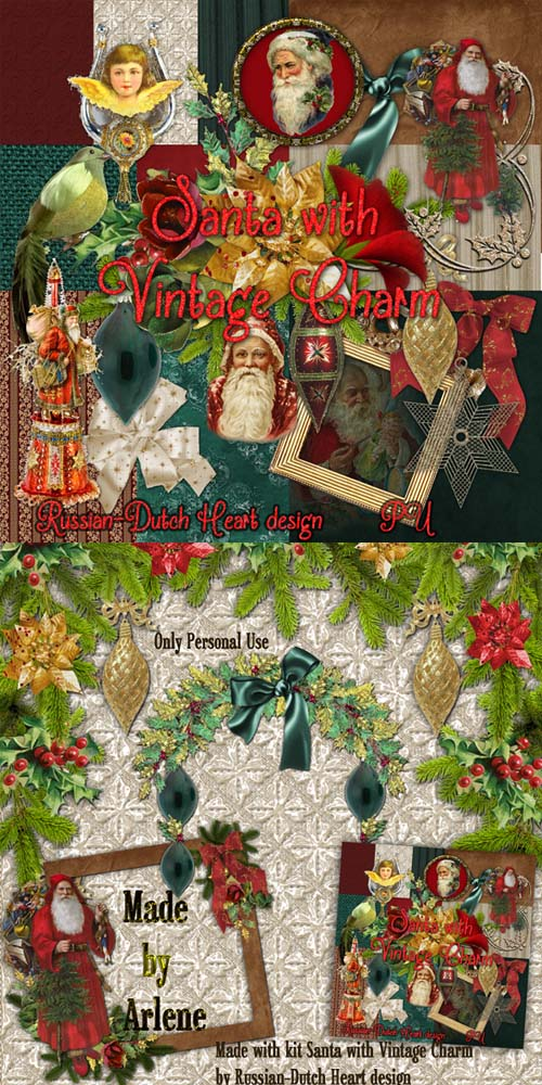Scrap Set - Santa with Vintage Charm PNG and JPG Files