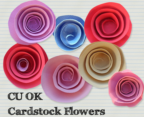 Cardstock Flowers PNG Files