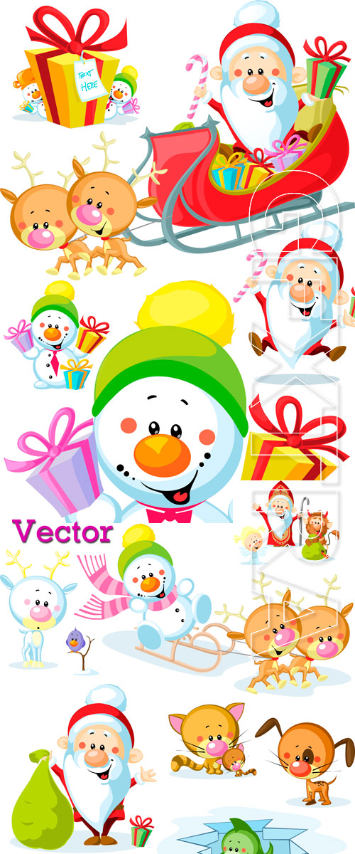 Father Frost and snowman with gifts in Vector