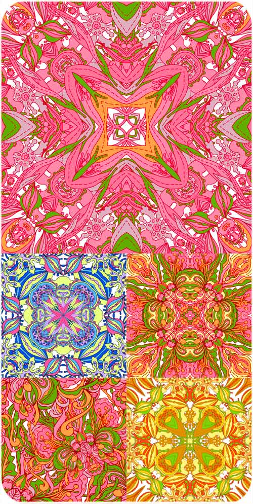 Vector backgrounds with multicolored floral patterns