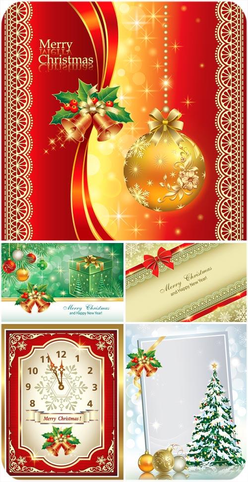 Christmas vector golden balls, tree