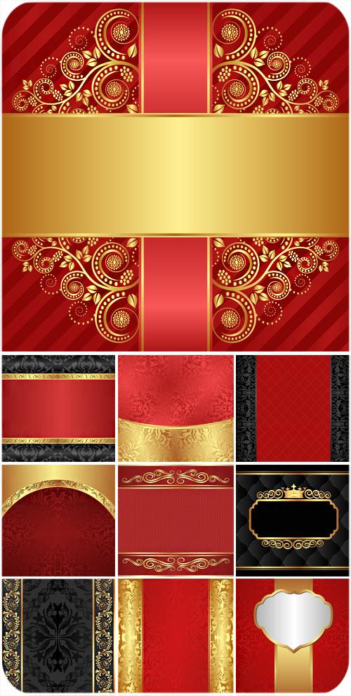 Golden patterns , red and black backgrounds vector , vintage