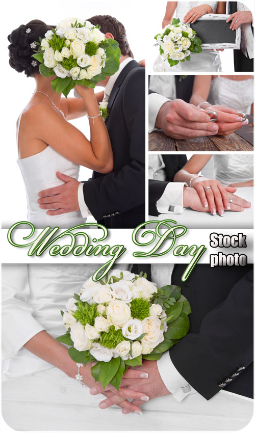 Wedding, the bride and groom with a bouquet - Stock photo