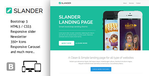 ThemeForest - Slander - Responsive Bootstrap HTML5 Landing Page - RIP