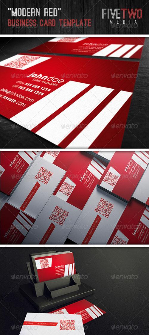 Modern Red Business Card