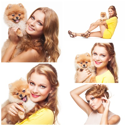 Young beautiful girl with dog - stock photo