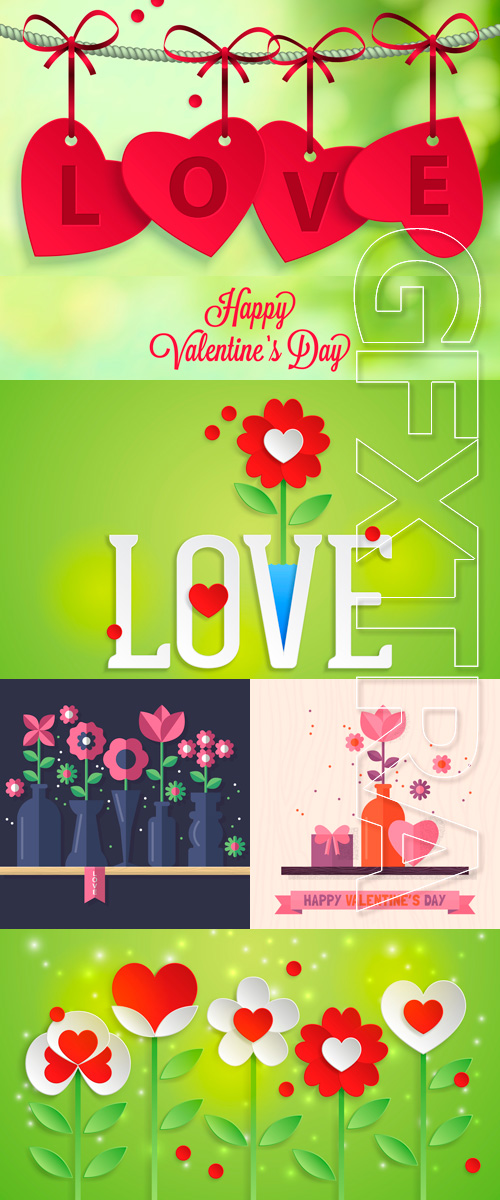 Romantic backgrounds by the St. Valentine's Day in the Vector