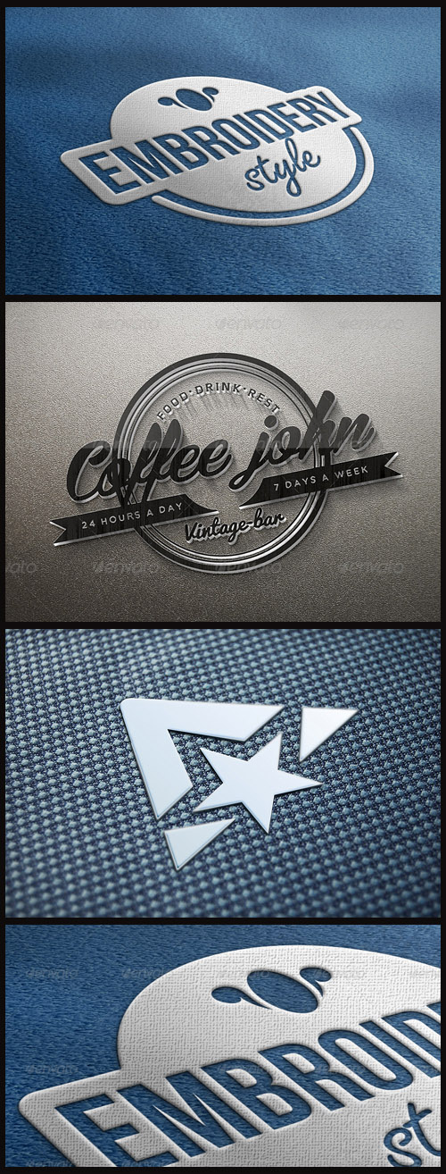Logo Mock-Ups - Embroidery, Fabric, Glass Logo on the Wall