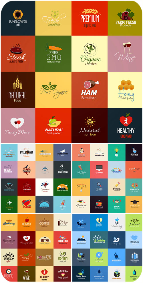 Food labels, large vector collection
