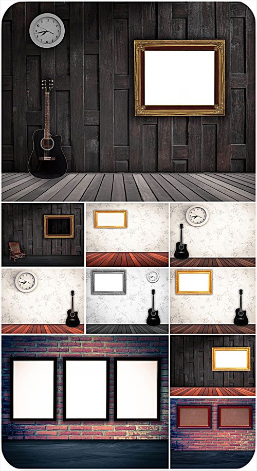 Interior, wooden floors, guitar, pictures on the walls - Stock photo