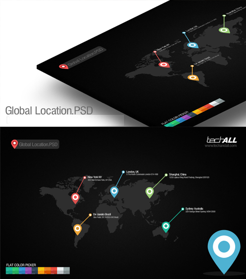Global Location Map with Flat Colors PSD