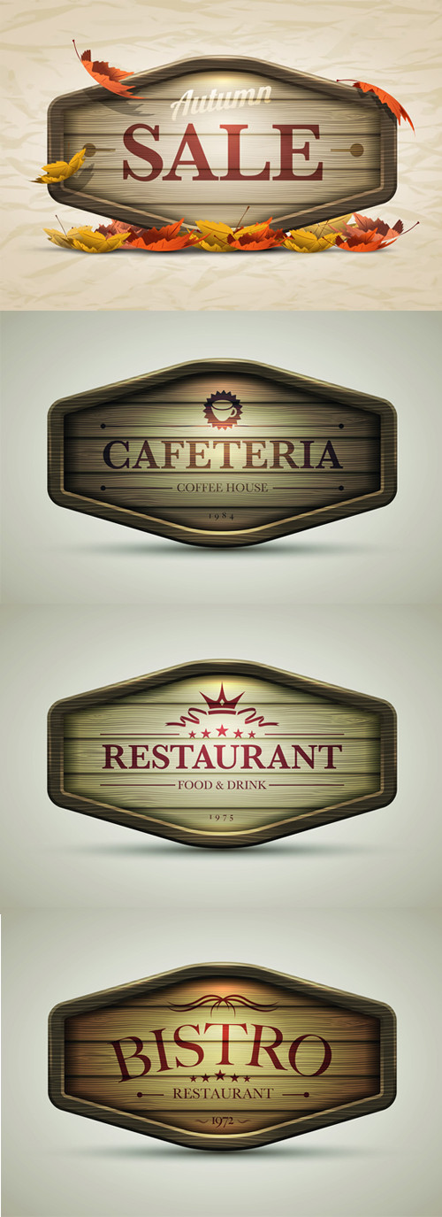 4 Wooden Sign Style Labels Set