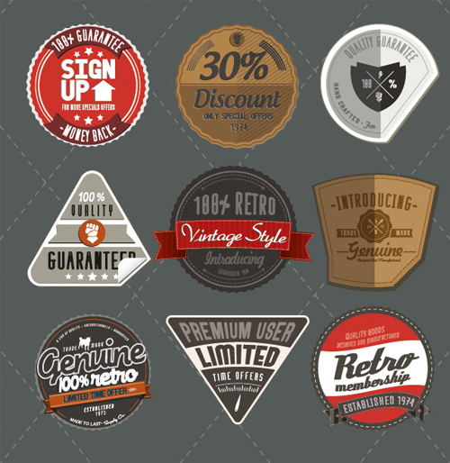 9 Retro Style Product Labels Vector Set