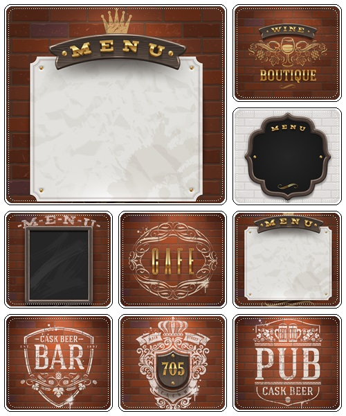Bar and cafe menu inscription on wood - vector stock