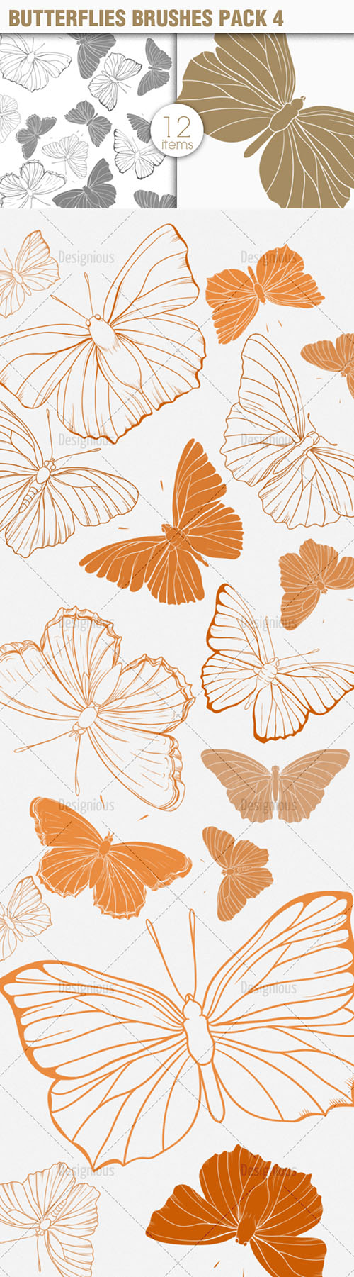 Butterflies Photoshop Brushes Pack 4