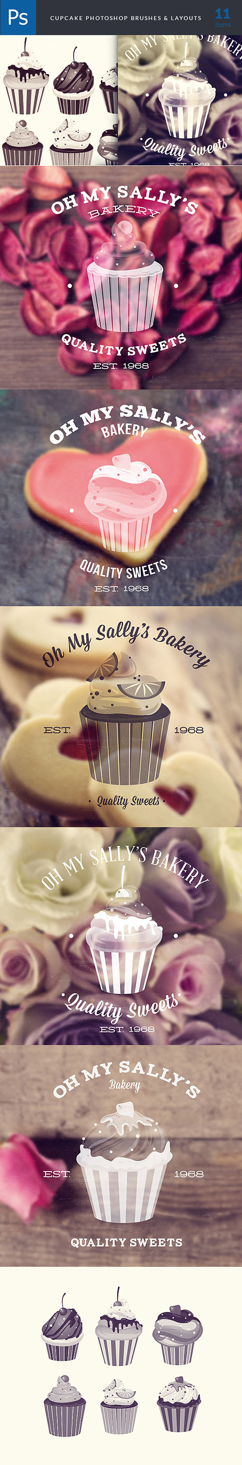 Cupcakes Brushes Photoshop Brushes Pack 1 - Designtnt