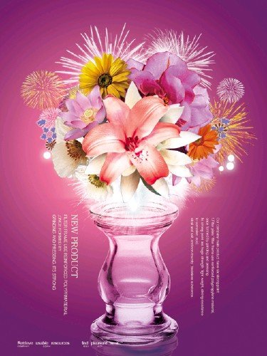 Bouquet of Exotic Flowers PSD