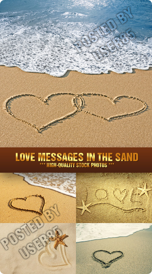 Stock Photo - Love Messages in the Sand