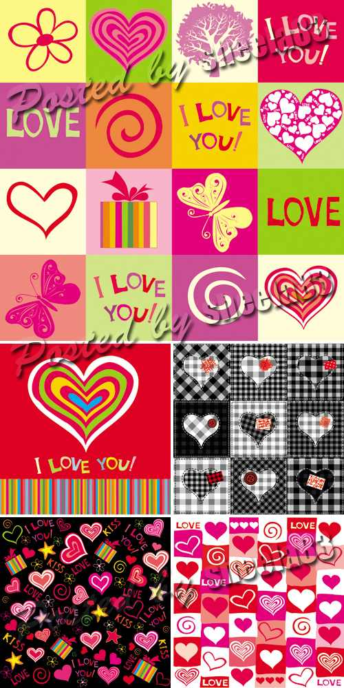 Hearts Seamless Patterns Vector 2