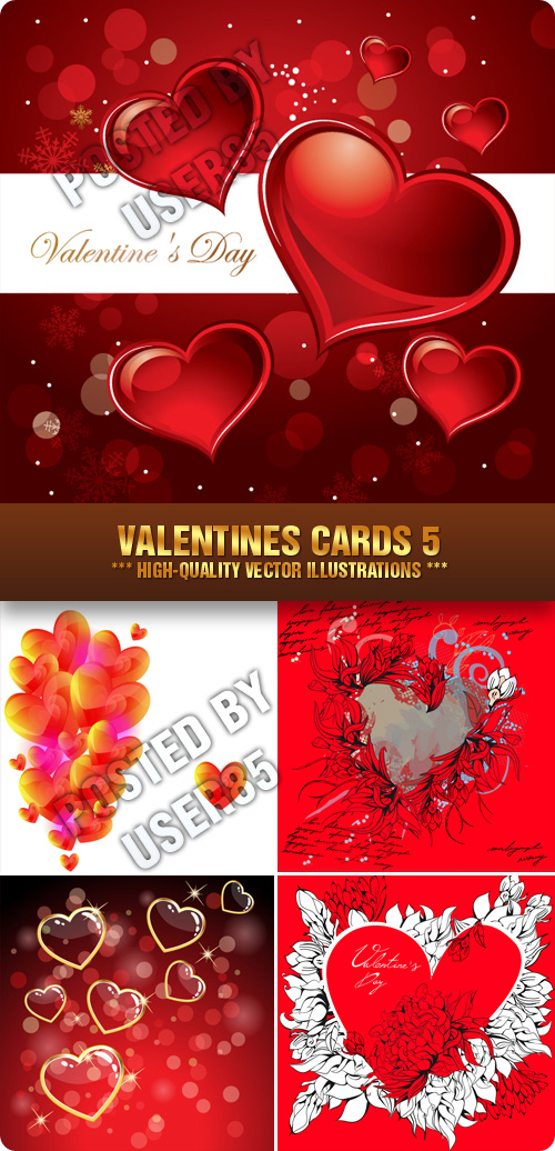 Stock Vector - Valentines Cards 5