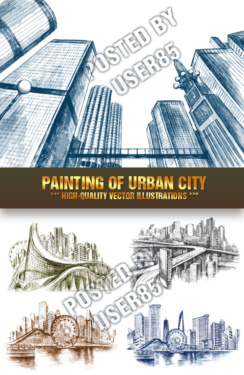 Stock Vector - Painting of Urban City