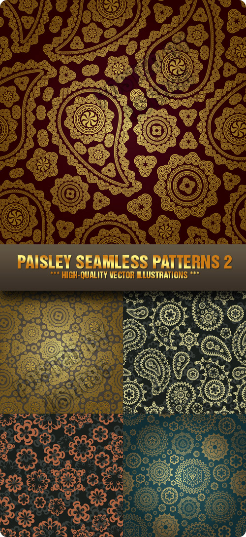 Stock Vector - Paisley Seamless Patterns 2