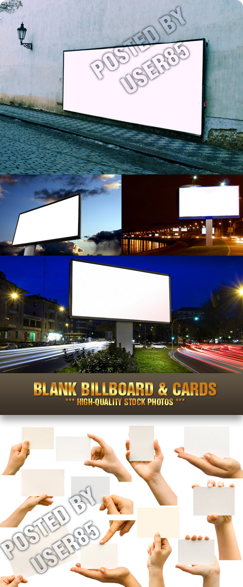 Stock Photo - Blank Billboard & Cards