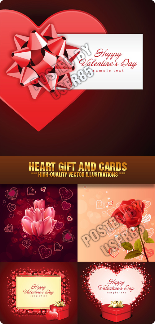 Stock Vector - Heart Gift and Cards