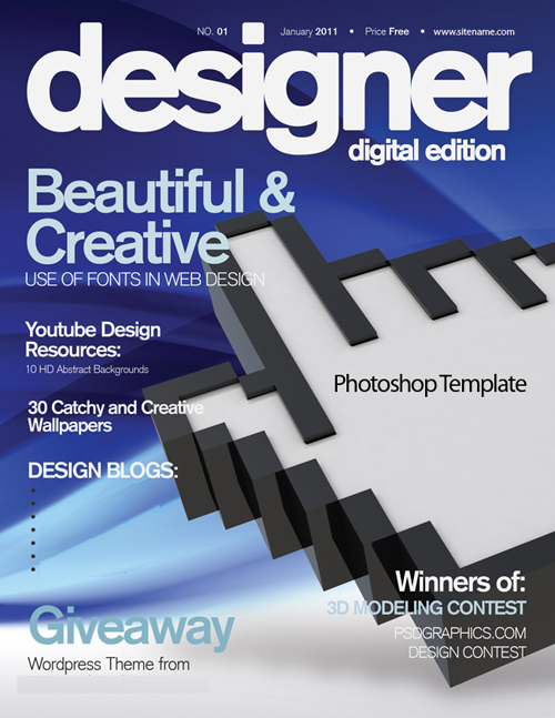 Blue template in the PSD for the design magazine