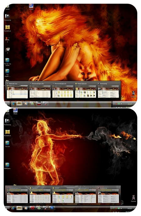 2 Fire theme for Windows 7