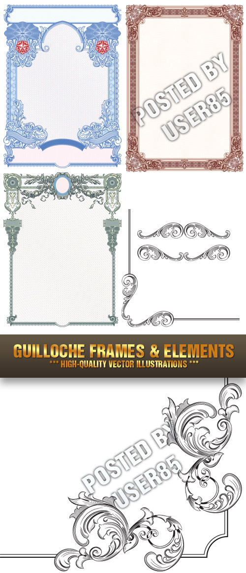 Stock Vector - Guilloche Frames & Elements