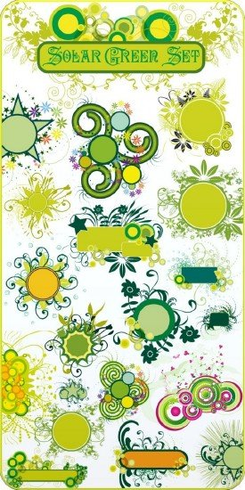 Solar Green Set Vector
