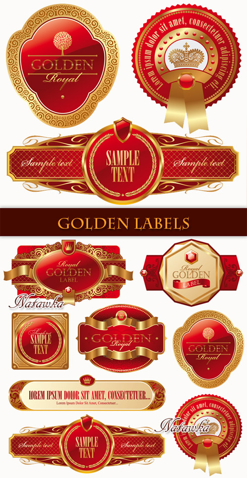 Golden Labels - Stock Vectors