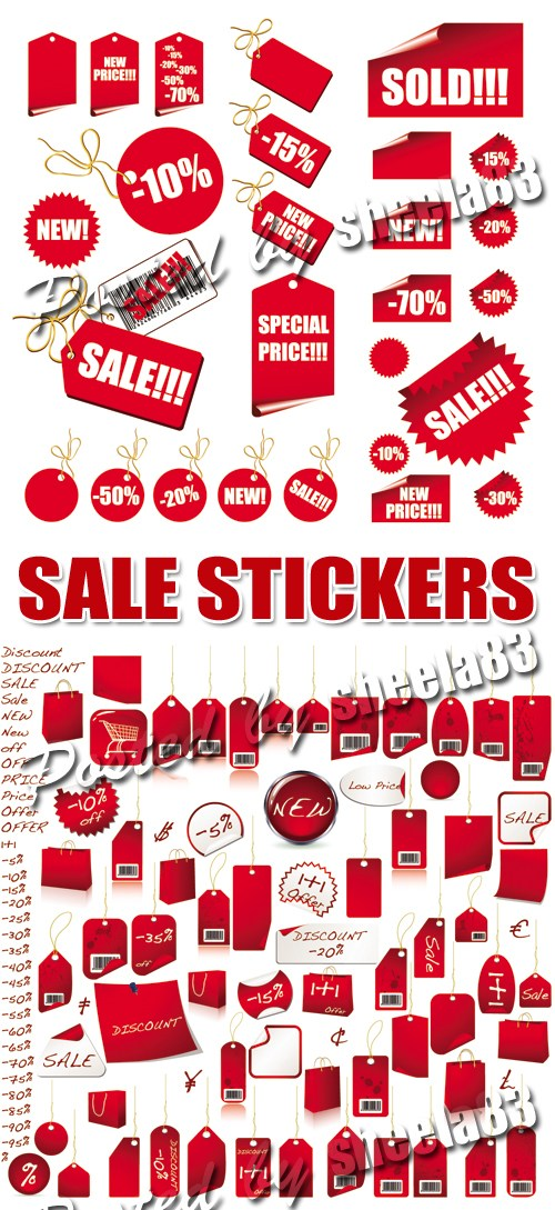 Red Sale Stickers, labels, tags Vector
