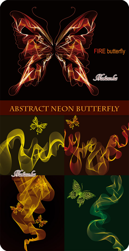 Abstract Neon Butterfly - Stock Vector