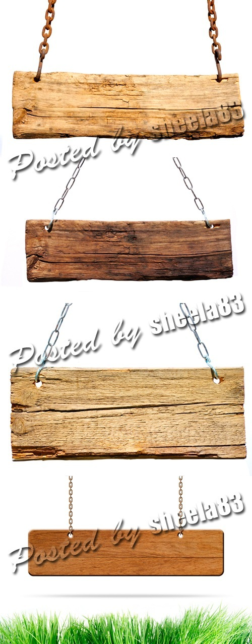 Wooden Signboards on White Background 4xJPGs