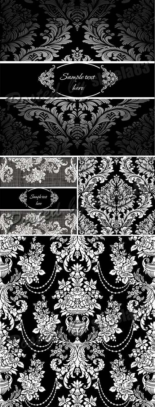 Black White Damask Seamless Patterns Vector