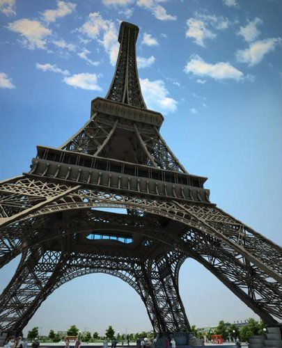 Eiffel Tower - 3D Model in City